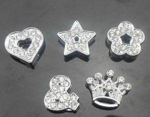 100 шт. / лот 8 мм микс стили (сердце звезда корона цветок) полный стразами слайд прелести подходят для 8 мм DIY кожа брелки