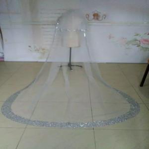 Strass étincelant Real Image Voiles de mariée Cathédrale Veil 3/4/5 mètres de long Longueur Deux couches Custom Made Wedding Veils peigne gratuit