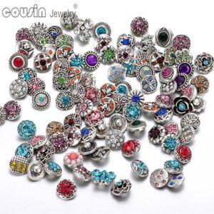 100pcs / lot mixte bouton pression charme de haute qualité strass 12mm Bouton métal pour Interchangeable bricolage Ginger Snaps Bijoux