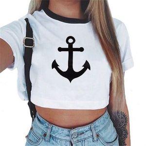 Оптово - KEEVICI женские летние якорь топ женщин 2017 с коротким рукавом хлопок футболки свободного покроя тис милый укороченный топ футболка для женщин