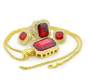18k сплошной позолоченный хип-хоп комплект ювелирных изделий Gem кольцо серьги кулон ожерелье Blingbling