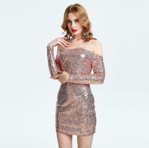새로운 여성 파티 스팽글 드레스 크리스마스 슬래시 넥 나이트 클럽 드레스 옷 Bodycon 복장