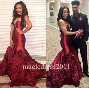 2021 Balo Abiye Mermaid Sweetheart Açık Geri Ruffled vestidos de Fiesta Örgün Abiye Giyim Arapça
