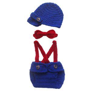 Küçük Adam Suit, El Yapımı Tığ Erkek Bebek Mavi Beyefendi Şapka, Bezi Jartiyer ve Papyon Kıyafetler ile Kapak, Bebek Yürüyor Fotoğraf Prop