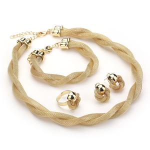SH303 мода роскошные старинные змея цепи ювелирные наборы трикотажные заявление ожерелье и серьги золотой комплект ювелирных изделий для женщин