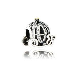 Diy Fit Pandora Bilezik Ile Otantik 925 Gümüş Külkedisi Kabak Arabası Charm Boncuk Temizle CZ Takı Yapımı Için