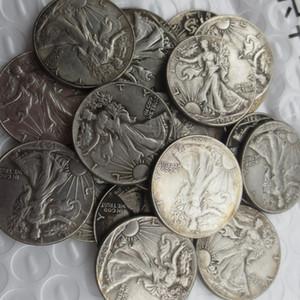 (1916-1947) -P 20PCS Yürüyüş Liberty Yarım Dolar Gümüş kaplama Kopyalama Madeni paralar ABD bir set