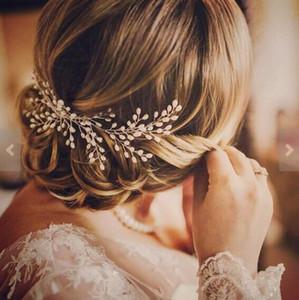 Romantische Elfenbein Perle Braut Haarkamm Hochzeit Haarschmuck Braut Haar Rebe Tiara Bohemian Pearl Head Stück