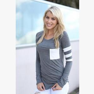 2017 осень новый шаблон Сплит совместное шею с длинным рукавом карманные женщины Майка жалость плюс размер женские дамы рубашки 3d футболка M88#