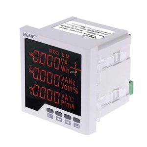 Freeshipping Embedded Multi-purpose Power Meter LED Digital 3 Phase voltmeter ammeter AC Voltage Current Power Factor Frequency Measurement