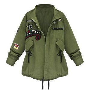 Wholesale- Spring Autumn Women Bomber Jacket Army Green Tops Long Sleeve Slim Turn-Down Collar Outwear Women Basic Coat LM93