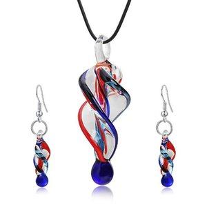 Büküm Murano Kolye Üflemeli Murano Cam Kolye Kolye Ve Küpe Mücevherat Setleri Kadınlar Için Moda Takı