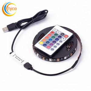 USB RGB LED Strip 5050 30LED M DC 5V USB LED Light Strips Waterproof Flexible Neon Tape 1M-5M add Remote For TV Background