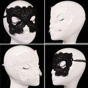Máscaras de Halloween Masquerade Sexy Máscaras de Renda Branca Preta Venetian Metade Máscara Facial para o Natal Cosplay Partido Máscaras de Olho WX-M06