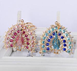 Criativo cartoon corrente chave pavão Diamante do pavão espalha seu anel de chave cauda Beacuiful acessório de moda saco menina pendurar decorações