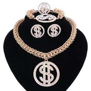 Cadeia dinheiro do dólar americano NecklacePendant cor do ouro prata para mulheres / homens Rhinestone Hip Hop Bling Pulseira Brinco Anel Conjunto de Jóias