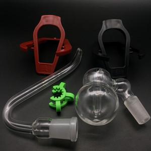 Barboteur de verre de cendres de verre avec l'adaptateur J-Crochets J crochets des tuyaux en verre et des kits de support de support de support de tuyau de pliage en plastique pour fumer