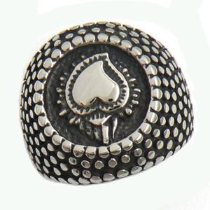 Fanssteel Acero inoxidable Vintage para hombre o wemens Jewelry Dot Alrededor del anillo del corazón del amor Anillo de Lucky 13W55