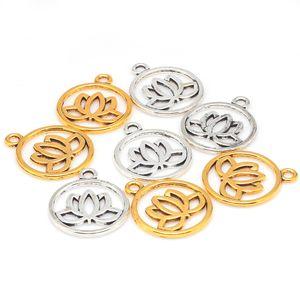 Atacado-2 cores de metal flor de lótus encantos para fazer jóias diy handmade do vintage flor de lótus pingente encantos 50 pçs / lote 20 * 24mm 8018