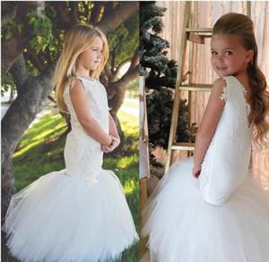 컨트리 웨딩 화이트 인어 공주님 플라워 걸스 드레스 Tulle Ball Gown Train 레이스 앙티크 비즈 Little Girls Pageant Dress 신성한 공주님 드레스