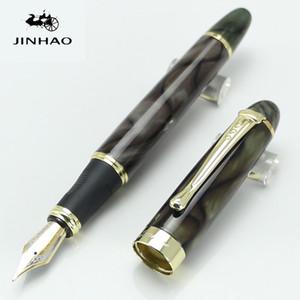 Оптовая торговля-высокое качество jinhao X450 широкий 18kgp перо полный металл Золотой клип мраморные канцелярские SchoolOffice перо Бесплатная доставка