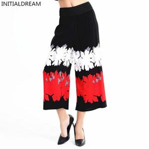 INITIALDREAM Marka Kadın Pantolon 2017 Pamuk Yüksek Bel Vintage Baskı Geniş Bacak Pantolon Rahat Pantolon Büyük Boy Kadın Pantolon