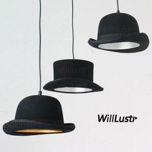 chambre suspension bonnet de laine à la main de feutre tissu Lampe suspension chapeau en aluminium léger hôtel restaurant manger salle couture magasin éclairage suspendu