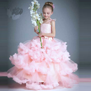 Principessa rosa Flower Girl Dresses For Weddings Kid Girls Party Dress Spettacolo per bambine Glitz Cloud Ruffled Children Prom Gowns