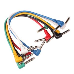 6 adet Set Renkli Gitar Patch Kablolar Açılı Gitar Efekt Pedallar Yaylı Çalgılar için Gitar Parçaları Aksesuarları