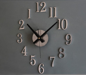 Fashion creative reversal of the clock. Time back metal texture really 3D stereo diy wall clock