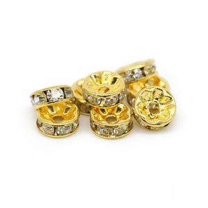 Takı Yapımı Altın Kaplama Bakır Rondelle Spacer Boncuk Temizle Kristal Rhinesetone 6mm 8mm 10mm 12mm, 100 adet / torba, IA01-02