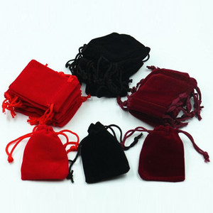 bolsa de terciopelo joyas de regalo de boda bolsa de cordón 7 * 9cm caramelo bolsas bolsa de bolsillo pendiente del paquete bolsas BZD04