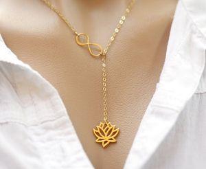 Yiustar Unendlichkeit Lotus Lariat-Anhänger-Halskette Figure Eight Lotus Flower-Halskette für Frauen Collier Femme XL043