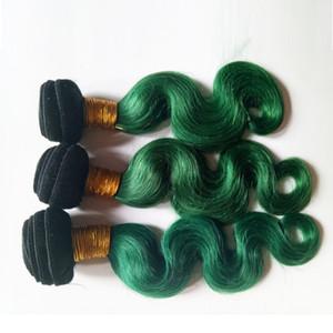 البرازيلي الجسم موجة عذراء الشعر نسج حزم بيرو الماليزي الهندي cambodian المنغولية الشعر 3 أجزاء طبقتان 1b / الأخضر 8-28 بوصة