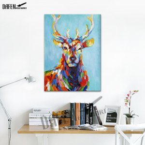 Happy Sika Cervo 100% dipinto a mano dipinti ad olio animale Divertente Cartoon Picture Paint su tela Modern Wall Art Home Decoration