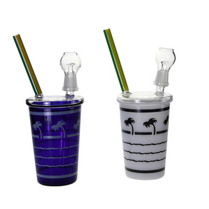 Glasbongs Starbuck In-N-OUT Coconut Tree Beach Form Cup Bohrinsel Glas Wasser-Rohre grüne und blaue Farbe Hookahs