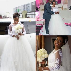 2018 New South African A Line Brautkleider Einfache Spitze Appliques Tulle Long Sleeves Hochzeit Brautkleider für schwarze Mädchen