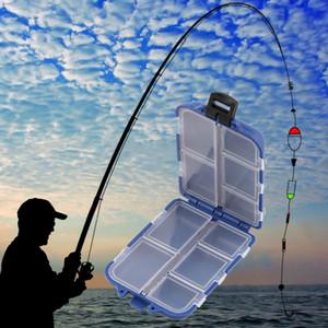 HS-003 Yeni 10 Bölmeler Saklama Kutusu Fly Fishing Lure Kaşık Kanca Yem Vaka Kutusu Balıkçılık Aksesuarları Mücadele Araçları Toptan