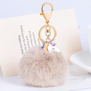 Cute Cartoon unicorno Keychain Bella Fluffy Artificiale Imitare Palla di Pelliccia Catena Chiave Uccello Animale Pompon Donne Car Bag Portachiavi