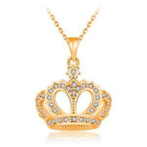 Мода Ожерелье для женщин Девушки Кристалл горный хрусталь Корона Шарм ожерелья подвески 18K Розовое Золото / Платина покрыли ювелирные изделия подарок
