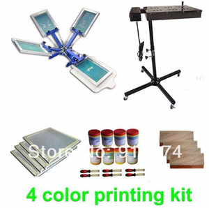 VELOCE spedizione gratuita 4 colori serigrafia kit asciugatrice flash plastisol inchiostro t-shirt stampante tergivetro telaio allungato