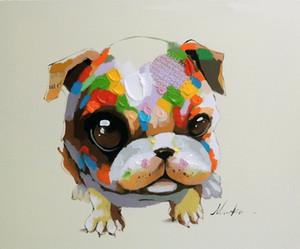 Emoldurado Bulldog Filhote de Cachorro Olhos Grandes Moderna Pop Art Pet, Genuíno Pintado À Mão Moderna Dos Desenhos Animados Animal Art pintura a óleo Museu Qualidade Multi tamanho J060