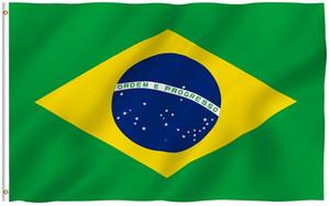 Bandeira da Bandeira do Brasil 3x5 Pé - (Dupla Face) Cor Vívida e Resistente ao Desbotamento UV - 100% Poliéster Bandeiras Nacionais Brasileiras com Gromme de Latão