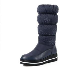Frauen Schwarz Mitte Kalb Stiefel Wedge Med Ferse Runde Kappe Winter Warme Schuhe Frauen Schneeflocke Elastische Damen Schnee Stiefel
