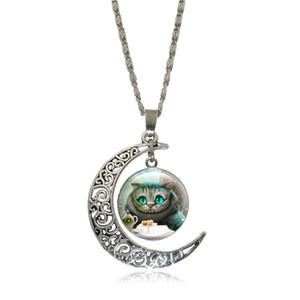 Cheshire Cat Halsketten Anhänger Alice im Wunderland Glas Cabochon Crescent Moon Anhänger Silber Kette Halskette Frauen Schmuck
