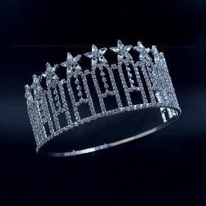 Pageant Taç Yıldızlar Miss Güzellik Yarışması Yüksek Quanlity Rhinestone Tiaras Gelin Düğün Saç Aksesuarları Ayarlanabilir Kafa mo230