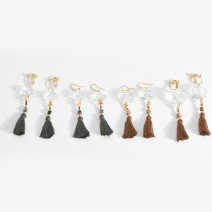 Superbe pompon Dangle boucles d'oreilles coupe manuelle cristal blanc lustre en pierre naturelle boucles d'oreilles bijoux design original délicat femmes cadeau