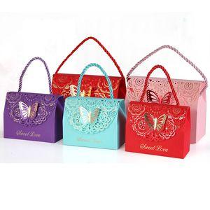 Scatole per confezioni di caramelle con manico Scatole di carta per piccole caramelle Scatole di carta 3D per scatole regalo per dolci regalo di nozze