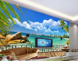 여름 해변 발코니 풍경 TV 배경 벽 장식 3 차원 벽화는 거실 벽지