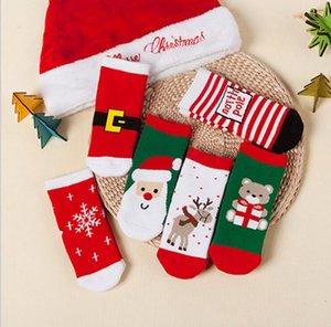 Calcetines de bebé Unisex Navidad para niños Calcetines gruesos de invierno Muñecos de nieve suaves Copo de nieve Rayas Calcetines de tobillo de Navidad KKA2693